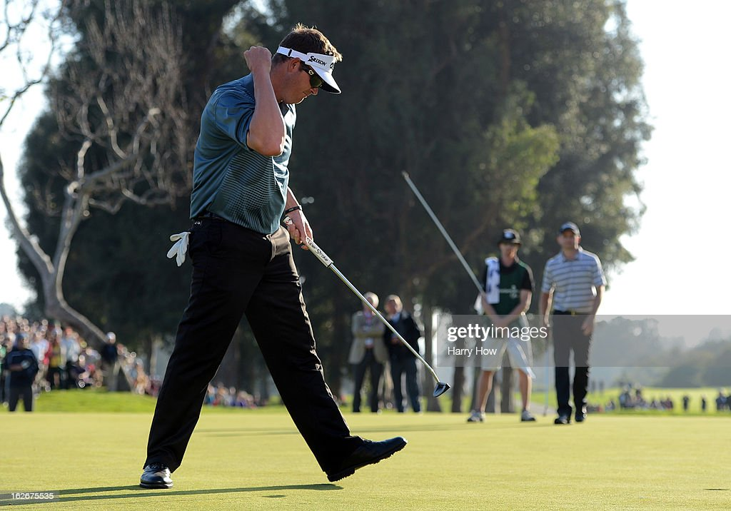 Charlie Beljan reacts to his putt on the first playoff hole during the final round of the Northern Trust Open at the Riviera Country Club on February 17, 2013 in Pacific Palisades, California.