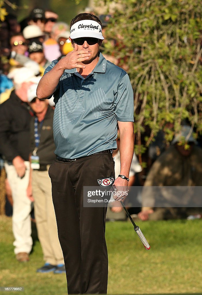 Charlie Beljan reacts to his putt on the second playoff hole during the final round of the Northern Trust Open at Riviera Country Club on February 17, 2013 in Pacific Palisades, California.