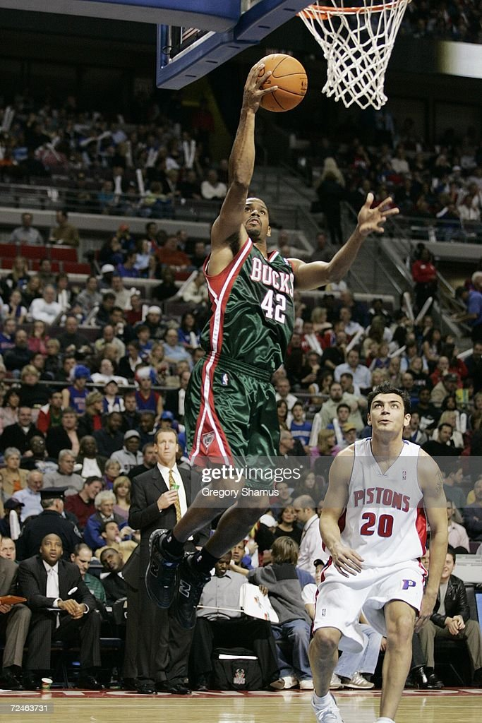 Charlie Bell #42 of the Milwaukee Bucks goes to the basket against the Detroit Pistons on November 1, 2006 at the Palace of Auburn Hills in Auburn Hills, Michigan. Milwaukee won the game 105-97.