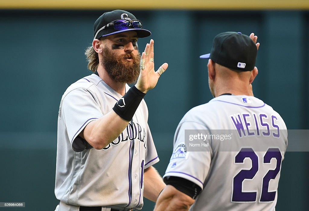 Charlie Blackmon #19 and manager Walt Weiss #22 of the Colorado Rockies celebrate a 6-3 win against the Arizona Diamondbacks at Chase Field on May 01, 2016 in Phoenix, Arizona.