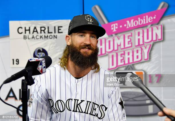 Charlie Blackmon of the Colorado Rockies and the National League speaks with the media during Gatorade AllStar Workout Day ahead of the 88th MLB...