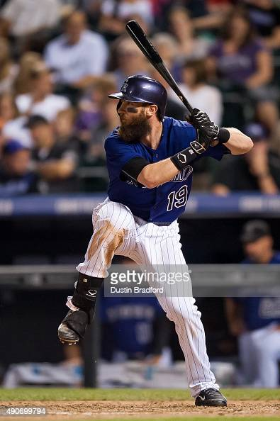 Charlie Blackmon of the Colorado Rockies bats against the Los Angeles Dodgers in the seventh inning of a game at Coors Field on September 25 2015 in...