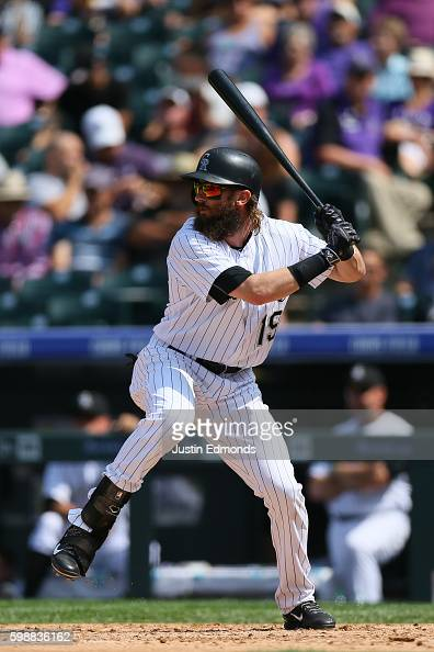 Charlie Blackmon of the Colorado Rockies bats against the Los Angeles Dodgers at Coors Field on August 31 2016 in Denver Colorado