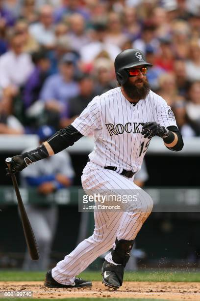 Charlie Blackmon of the Colorado Rockies bats against the Los Angeles Dodgers on Opening Day at Coors Field on April 7 2017 in Denver Colorado
