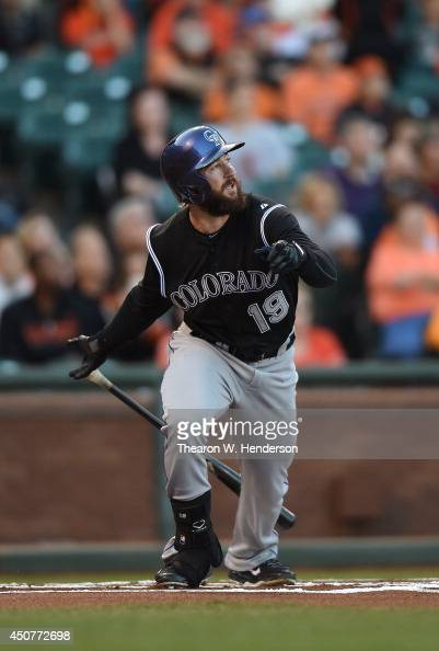 Charlie Blackmon of the Colorado Rockies bats against the San Francisco Giants in the top of the first inning at ATT Park on June 13 2014 in San...