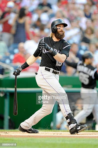 Charlie Blackmon of the Colorado Rockies bats against the Washington Nationals at Nationals Park on August 26 2016 in Washington DC