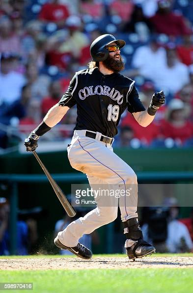 Charlie Blackmon of the Colorado Rockies bats against the Washington Nationals at Nationals Park on August 28 2016 in Washington DC