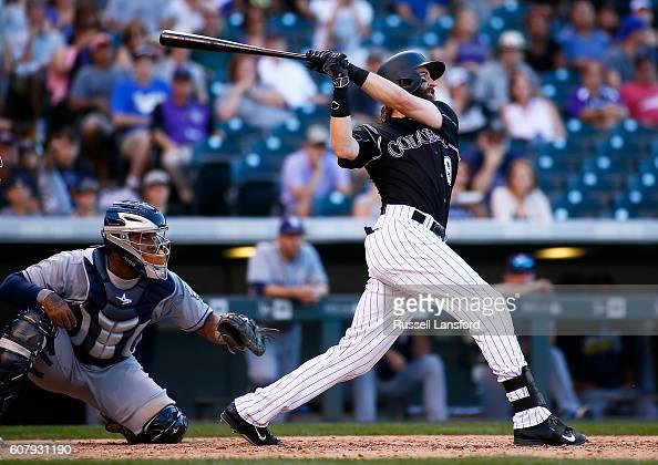 Charlie Blackmon of the Colorado Rockies bats during a regular season MLB game between the Colorado Rockies and the visiting San Diego Padres at...