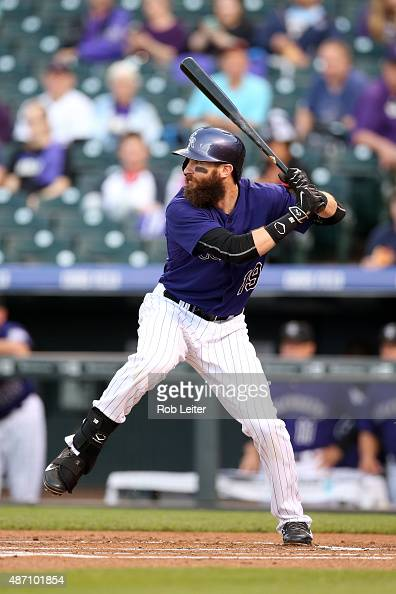 Charlie Blackmon of the Colorado Rockies bats during the game against the Arizona Diamondbacks at Coors Field on August 31 2015 in Denver Colorado...