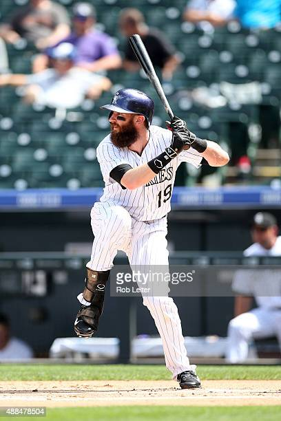 Charlie Blackmon of the Colorado Rockies bats during the game against the Arizona Diamondbacks at Coors Field on September 1 2015 in Denver Colorado...