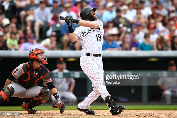 Charlie Blackmon of the Colorado Rockies bats during the game against the San Francisco Giants at Coors Field on May 29 2016 in Denver Colorado The...