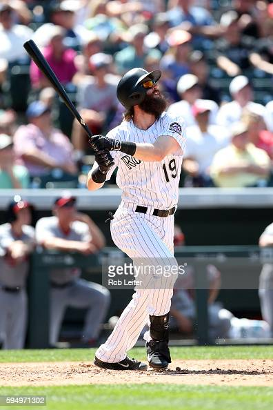 Charlie Blackmon of the Colorado Rockies bats during the game against the Washington Nationals at Coors Field on August 17 2016 in Denver Colorado...