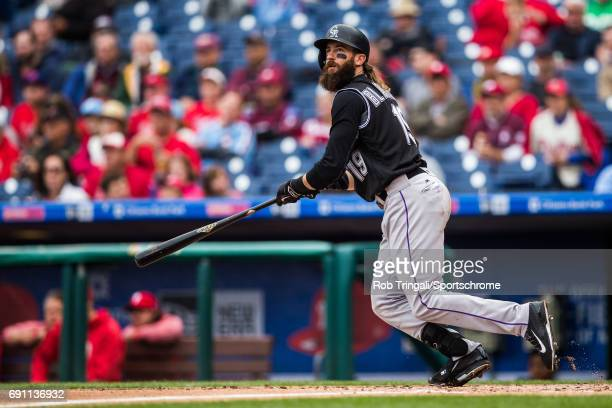 Charlie Blackmon of the Colorado Rockies bats during the game against the Philadelphia Phillies at Citizens Bank Park on May 25 2017 in Philadelphia...
