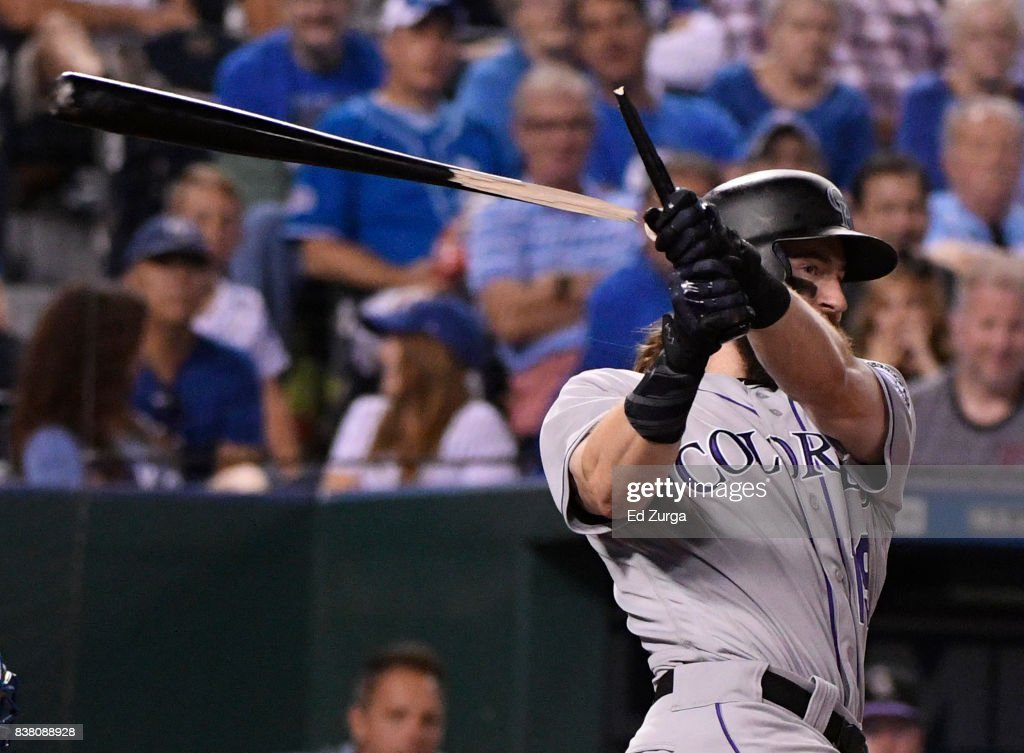 Charlie Blackmon #19 of the Colorado Rockies breaks his bat as he fouls the ball off in the sixth inning against the Kansas City Royals at Kauffman Stadium on August 23, 2017 in Kansas City, Missouri.