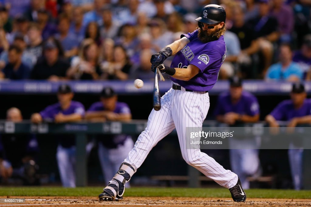 Charlie Blackmon #19 of the Colorado Rockies breaks his bat en route to an RBI single against the Detroit Tigers during the second inning of an interleague game at Coors Field on August 28, 2017 in Denver, Colorado.