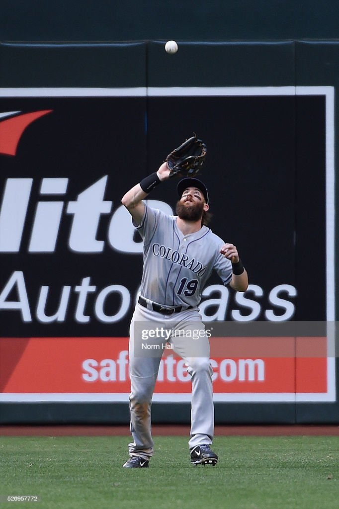 Charlie Blackmon #19 of the Colorado Rockies catches a fly ball off the bat of David Peralta #6 of the Arizona Diamondbackcs during the sixth inning at Chase Field on May 01, 2016 in Phoenix, Arizona.