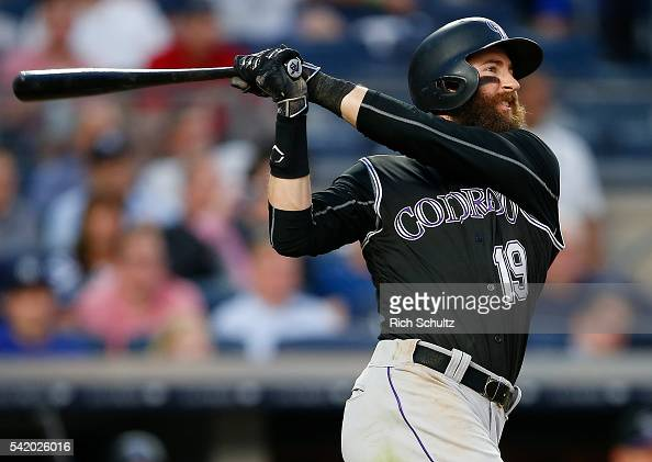 Charlie Blackmon of the Colorado Rockies hits a home run in the fourth inning against the New York Yankees during a game at Yankee Stadium on June 21...