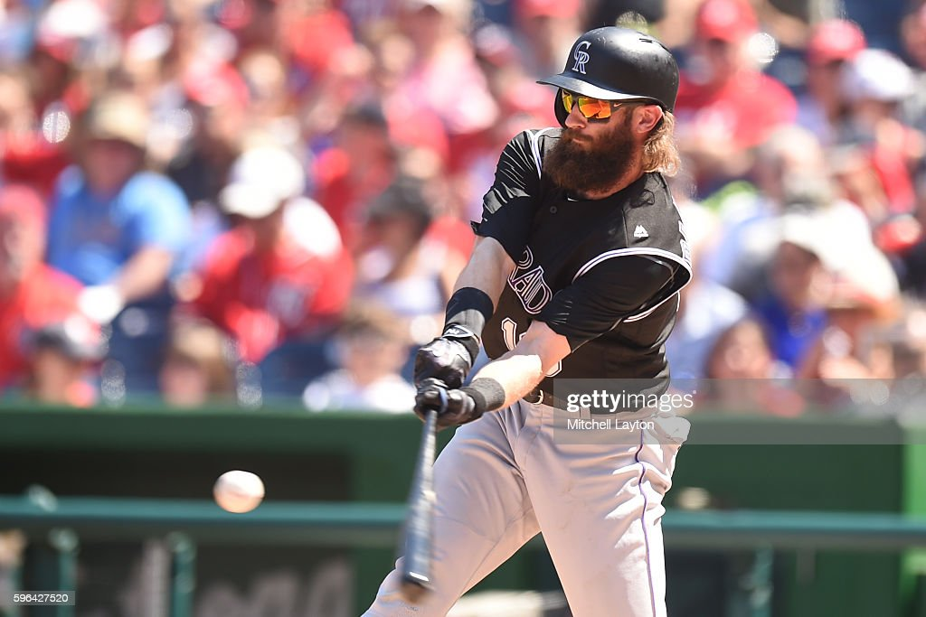 Charlie Blackmon #19 of the Colorado Rockies hits a solo home run in the third inning during a baseball game against the Washington Nationals at Nationals Park on August 27, 2016 in Washington, DC.