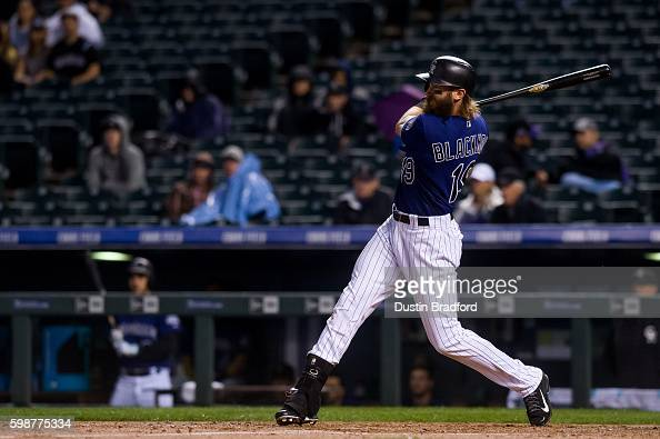 Charlie Blackmon of the Colorado Rockies hits a third inning double against the Los Angeles Dodgers at Coors Field on August 29 2016 in Denver...