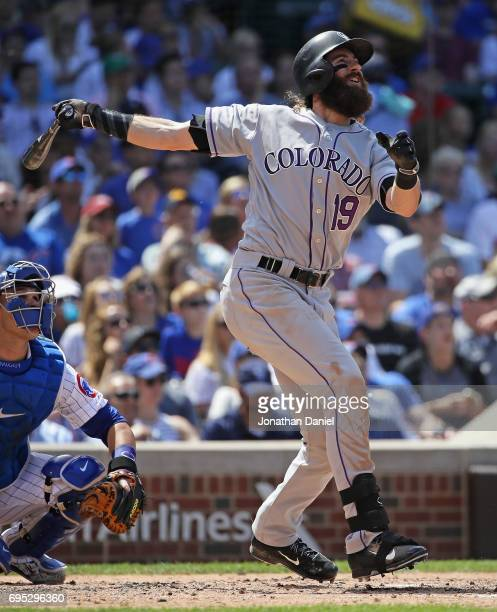 Charlie Blackmon of the Colorado Rockies hits a two run home run in the 5th inning against the Chicago Cubs at Wrigley Field on June 9 2017 in...