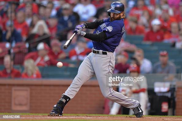Charlie Blackmon of the Colorado Rockies hits against the St Louis Cardinals at Busch Stadium on September 13 2014 in St Louis Missouri