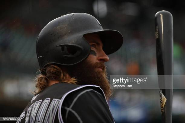Charlie Blackmon of the Colorado Rockies is seen during the seventh inning against the San Francisco Giants at ATT Park on April 16 2017 in San...