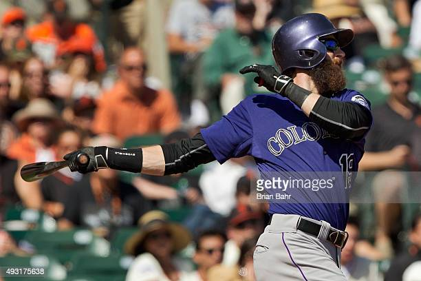Charlie Blackmon of the Colorado Rockies lines out to the San Francisco Giants in the third inning at ATT Park on October 4 2015 in San Francisco...