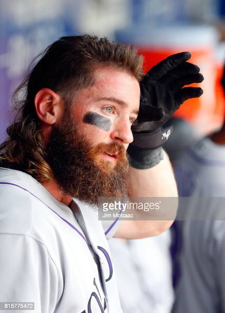Charlie Blackmon of the Colorado Rockies looks on against the New York Mets on July 16 2017 at Citi Field in the Flushing neighborhood of the Queens...