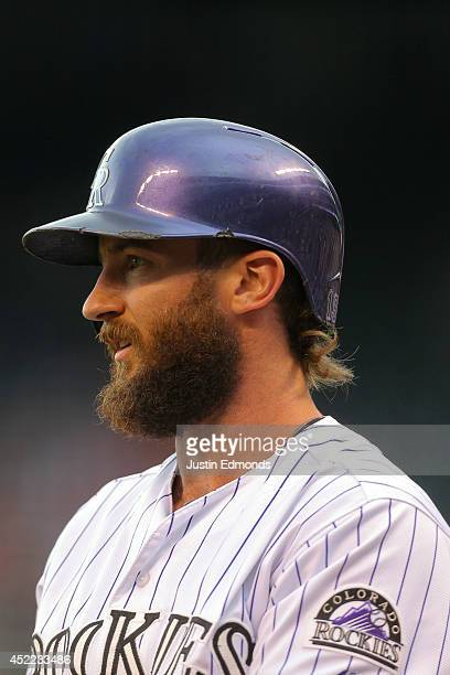 Charlie Blackmon of the Colorado Rockies looks on against the Minnesota Twins at Coors Field on July 11 2014 in Denver Colorado