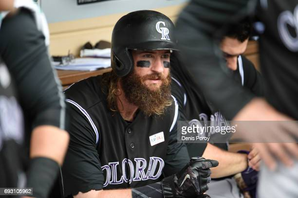 Charlie Blackmon of the Colorado Rockies looks on before a baseball game against the San Diego Padres at PETCO Park on June 3 2017 in San Diego...