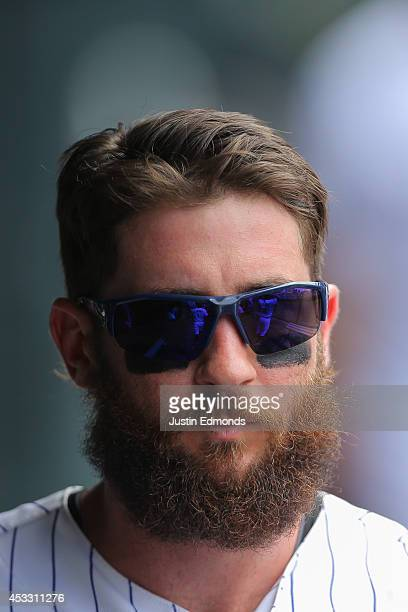 Charlie Blackmon of the Colorado Rockies looks on during a game against the Pittsburgh Pirates at Coors Field on July 27 2014 in Denver Colorado The...