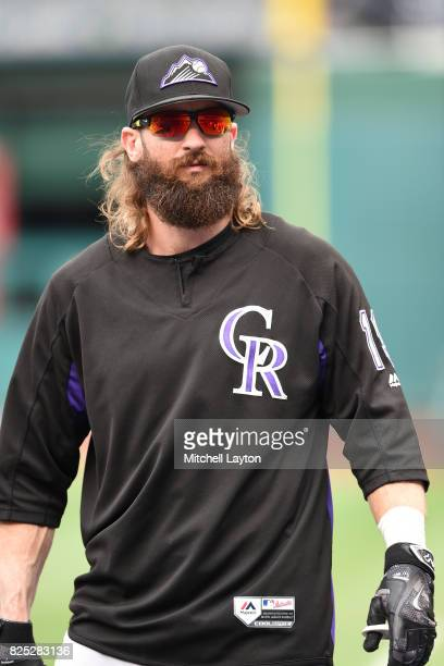 Charlie Blackmon of the Colorado Rockies looks on during practice of a baseball game against the Washington Nationals at Nationals Park on July 29...