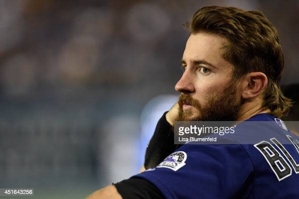 Charlie Blackmon of the Colorado Rockies looks on during the game against the Los Angeles Dodgers at Dodger Stadium on June 17 2014 in Los Angeles...