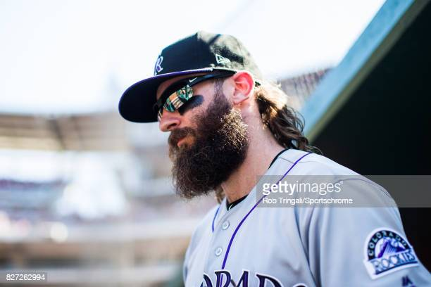 Charlie Blackmon of the Colorado Rockies looks on during the game against the Washington Nationals at Nationals Park on July 30 2017 in Washington DC