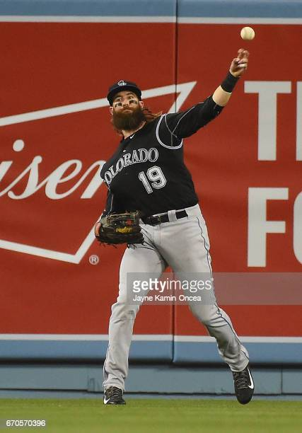 Charlie Blackmon of the Colorado Rockies makes a play during the game against the Los Angeles Dodgers at Dodger Stadium on April 18 2017 in Los...