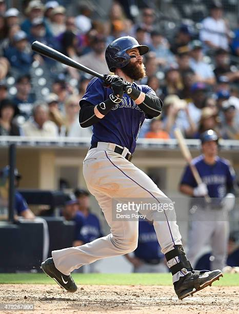 Charlie Blackmon of the Colorado Rockies plays during a baseball game against the San Diego Padres at Petco Park May 3 2015 in San Diego California