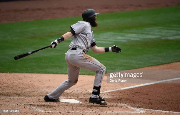 Charlie Blackmon of the Colorado Rockies plays during a baseball game against the San Diego Padres at PETCO Park on June 4 2017 in San Diego...