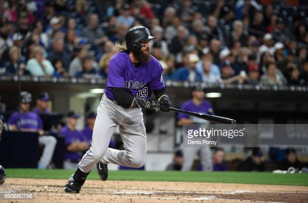 Charlie Blackmon of the Colorado Rockies plays during a baseball game against the San Diego Padres at PETCO Park on June 2 2017 in San Diego...