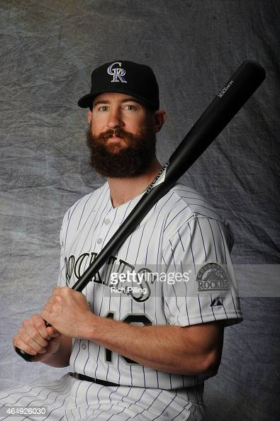 Charlie Blackmon of the Colorado Rockies poses for a portrait during Photo Day on March 1 2015 at Salt River Fields at Talking Stick in Scottsdale...