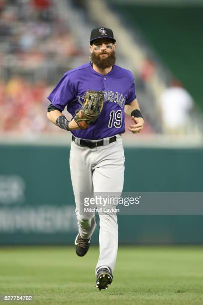 Charlie Blackmon of the Colorado Rockies runs back to the dug out during game two of a doubleheader baseball game against the Washington Nationals at...