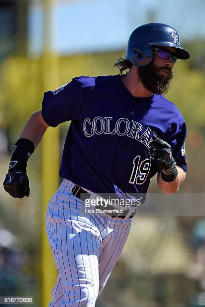 Charlie Blackmon of the Colorado Rockies runs the bases after hitting a home run in third inning against the San Francisco Giants on March 20 2016 in...
