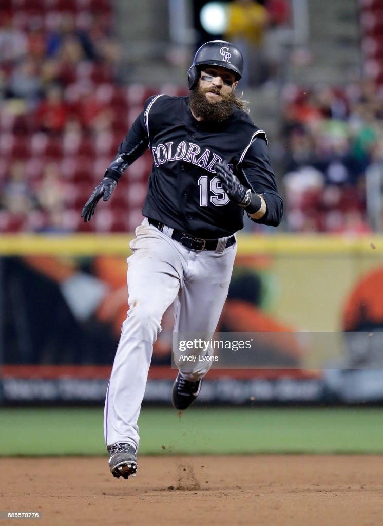 Charlie Blackmon #19 of the Colorado Rockies runs to third base in the ninth inning against the Cincinnati Reds at Great American Ball Park on May 19, 2017 in Cincinnati, Ohio.