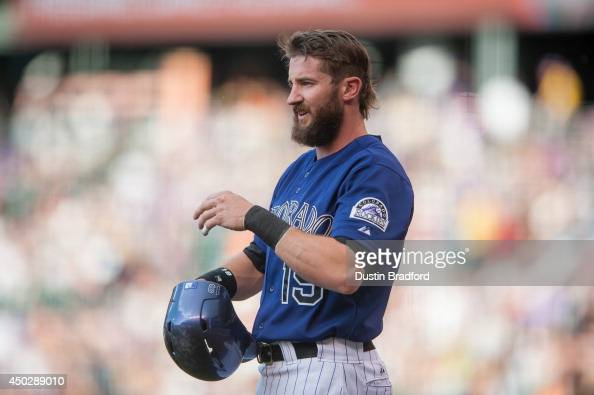 Charlie Blackmon of the Colorado Rockies stands in the on deck circle during a game against the Arizona Diamondbacks at Coors Field on June 4 2014 in...