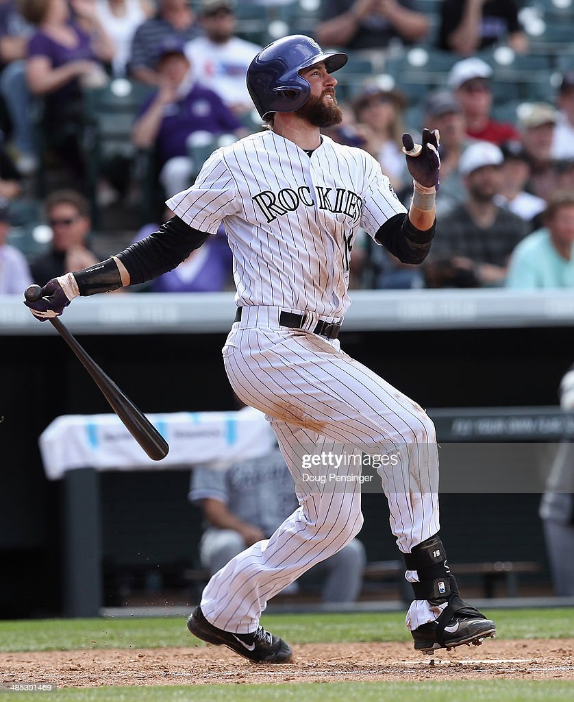 <a gi-track='captionPersonalityLinkClicked' href=/galleries/search?phrase=Charlie+Blackmon&family=editorial&specificpeople=7519880 ng-click='$event.stopPropagation()'>Charlie Blackmon</a> #19 of the Colorado Rockies takes an at bat against the Chicago White Sox during Interleague play at Coors Field on April 9, 2014 in Denver, Colorado. The Rockies defeated the White Sox 10-4.