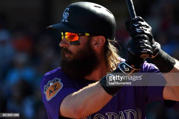 Charlie Blackmon of the Colorado Rockies waits on deck against the Texas Rangers on March 7 2017 in Surprise Arizona