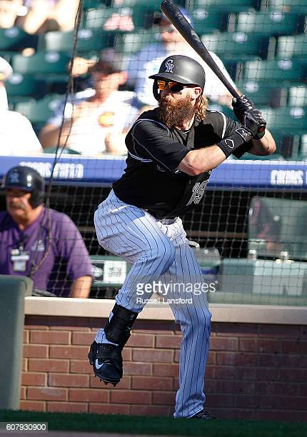 Charlie Blackmon of the Colorado Rockies waits on deck during a regular season MLB game between the Colorado Rockies and the visiting San Diego...