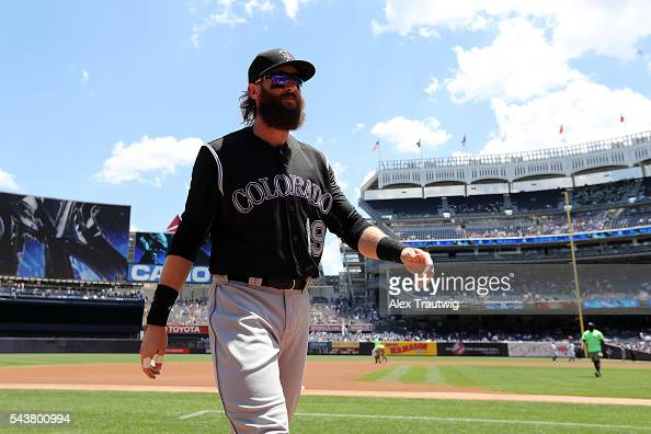 Charlie Blackmon of the Colorado Rockies walks to the dugout prior to the game against the New York Yankees at Yankee Stadium on Wednesday June 22...