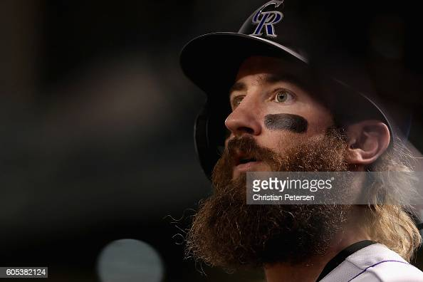 Charlie Blackmon of the Colorado Rockies watches from the dugout during the MLB game against the Arizona Diamondbacks at Chase Field on September 13...