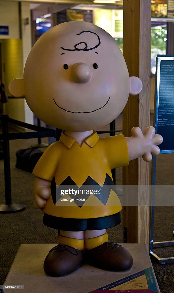 Charlie Brown, a Peanuts cartoon character, greets visitors to the at Charles M. Schulz Airport on July 25, 2012, in Santa Rosa, California. Charles M. Schulz Airport is serviced by Alaska Airlines and is located in Sonoma County.