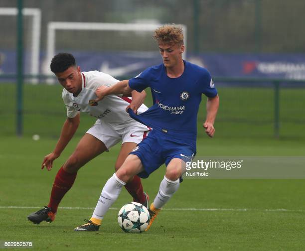 Charlie Brown of Chelsea Under 19s during UEFA YouthLeague match between Chelsea Under 19s against AS Roma Under 19s at Cobham Training Ground Cobham...